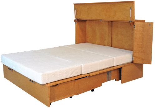 Cabinet Bed Deployed for Sleeping