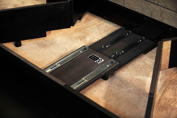 View of sliding mechanism in cabinet bed