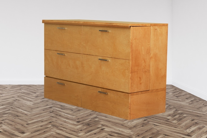 Pine color finish wooden cabinet bed