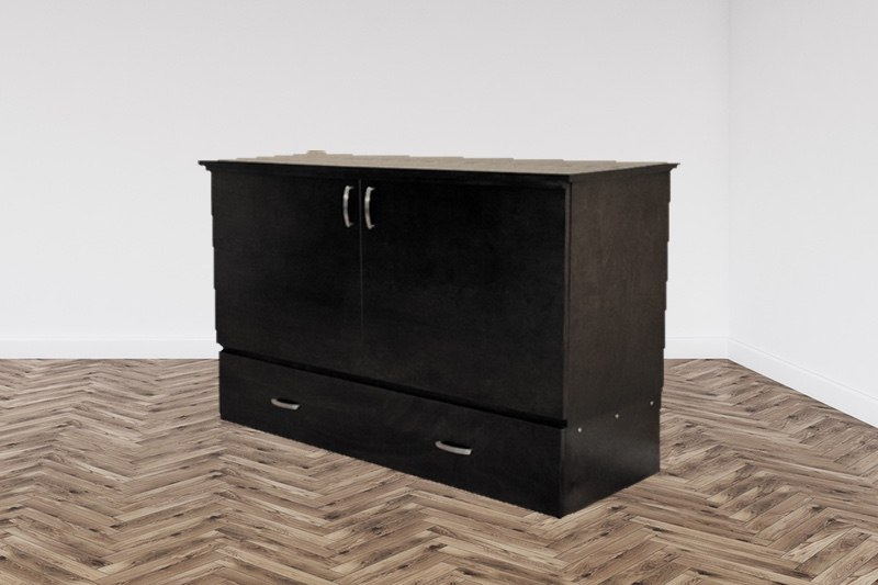 Dark finish cabinet bed